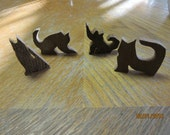 4 Cat Wooden Cut Outs Handcrafted One of a Kind Craftr Supplies