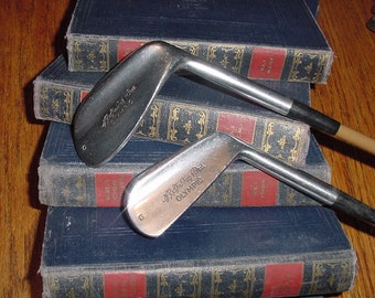 Vintage A.G. Spaulding & Bros. Transition Golf Club Irons Leather Grips Painted Steel Shafts
