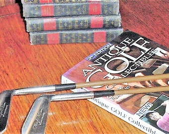 Vintage Transition Golf Club Irons Wright & Ditson St. Andrews Painted Steel Shafts Leather Grips