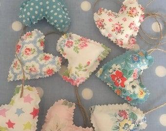 Cath kidston  cotton fabric heart garland,bunting,banner,hearts,wedding,valentine,Christmas