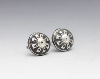 Sterling Studs, Boho Earrings, Flower Studs, Silver Flowers, Unisex Studs