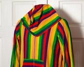 Retro Vintage Colorful Rainbow Zip-up Hoodie -