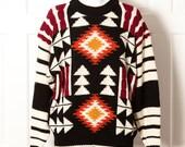 80s 90s Vintage Knit Sweater - BOTANY 500 - native tribal look diamond