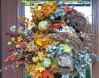 FALL or THANKSGIVING Grapevine Wreath with QUAIL