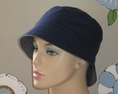 Chemo Hat Bucket Hat Alopecia Hat fro Hair Loss Made in the USA Navy  SMALL/MEDIUM ( For Size Guide, see 'Item Details' below photos)