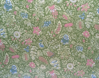 1970s vintage wallpaper- sage green- by the yard
