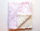 Infant Baby Car Seat Lap Blanket, Pink Jacquard with White Minky Faux Fur
