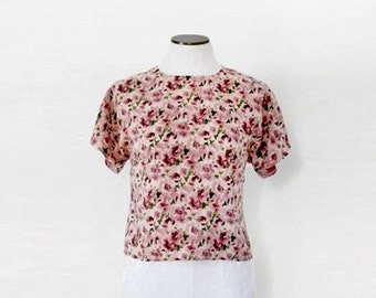 90s Boxy Top. Floral Top. Casual Top. Romantic Top. Short Sleeve Shirt. Allover Print Top. Rose Print. Blush Pink Blouse. Floral Tee. Large.