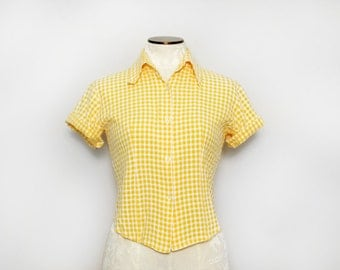 1960s Rockabilly Top. Retro Checkered Shirt. Yellow White Blouse. Women's Button Down Shirt. Short Sleeve Button Down. Summer Top. Medium.
