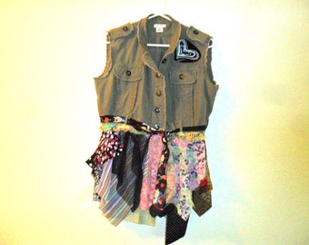 Recycled shirt tunic vest