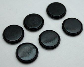 Six Plain Black Buttons