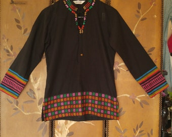 80s Ethnic black and patterned Indian tunic shirt by BIBA