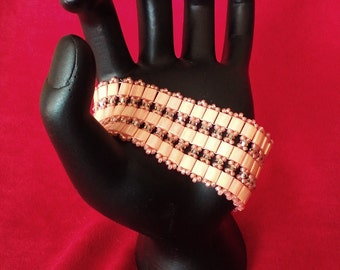 Tila and crystal peach cuff bracelet