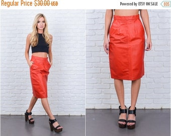 ON SALE Vintage 80s Red Leather Skirt High Waist Pencil Straight Moto Retro XS 6674 c