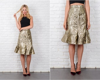 Gold Lame Skirt Vintage 80s High Waist Floral Glam Retro Small S 8164