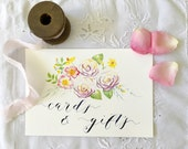 """Wedding Sign 'Cards and Gifts' Watercolour & Calligraphy 5 1/2 x 8"""""""
