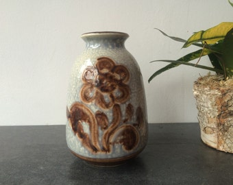 1960s West Germany Light Blue and Brown Flower Design Vase