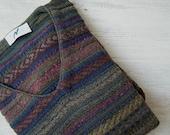 Vintage Wool Blend Man Sweater Size L, Hipster Winter Jumper, V Neck Pullover Red Blue Green Stripes, Weekend Men Knitwear Christmas Gift
