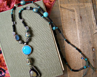 Tribal Beaded Necklace, Earthy Statement Boho Necklace, Mixed Beads Long Trinket Charm Necklace, Indie Jewelry Mixed Media Bohemian Fashion
