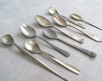 Vintage Tarnish Teaspoon Assemblage, Lot of 8 Assorted Patterns Aged Silverware, Silver Patina Distressed Flatware Retro Rustic Photo Prop