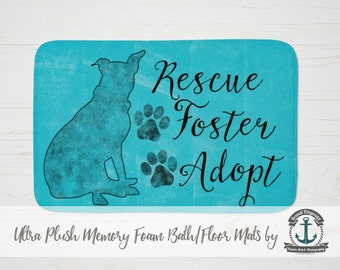 """Plush Bath Mat 34x21"""" - Pitbull Rescue Foster Adopt 