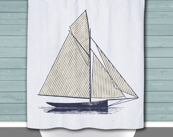 sailboat shower curtain sailcloth look nautical sailboat beach house decor button holes or