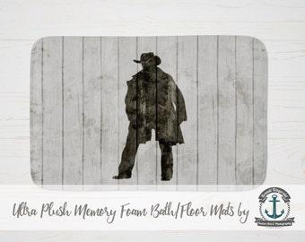 "Plush Bath Mat 34x21"" - Cowboy | Rustic Wood Plank Look Country Chic  | Plush Memory Foam + Mold Resistant | 34x21"""