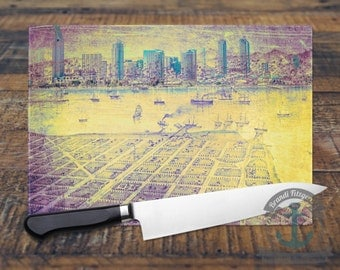 Glass Cutting Board - San Diego Bay Skyline | City Map Hometown Decor | Small or Large Kitchen Art for Your Countertop