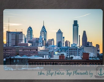 Placemat - Philadelphia Skyline | Ben Franklin Bridge View Hometown City Decor | Anti Skid/Non Slip Fabric Top Rubber Backed Awesomeness