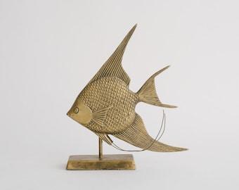 Vintage Large Brass Angelfish