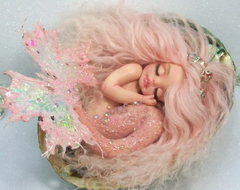 OOAK art doll fantasy mermaid baby polymer clay sculpture fairy seahorse  IADR       free shipping