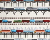 Train Stripes on Cream from TImeless Treasure's Planes, Trains, and Automobiles Collection