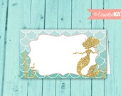 Mermaid Food Labels / INSTANT DOWNLOAD / Favor Tags / Under the Sea Birthday Party / Gold Glitter / Pink, Teal / Printable Digital File
