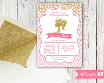 Princess Silhouette Gold Glitter and Pink - Printable Girl's Birthday Party invitation - Personalized for you with or without photo!