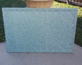 Cork Board CorkBoard PinBoard Bulletin 23x35 Blue Turquoise Light Sheen Fabric & White Leaf Stitching Shiny Chrome Nail Head Trim, Pushpins