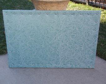 Cork Board CorkBoard PinBoard Bulletin 23x35 Blue Turquoise & White Leaf Stitching Decorators Fabric, Shiny Chrome Nail Head Trim, Pushpins