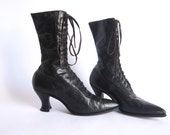 Victorian Boots, Steampunk Boots, Black Leather Polly Preston Womens Lace Up Boots Size 6 / 6.5