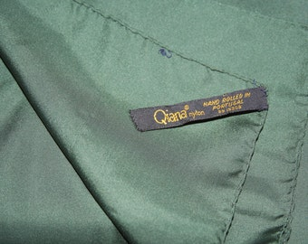 "Qiana Nylon Forest Green Scarf Pocket Square18 x 18""""  - Made in Portugal"