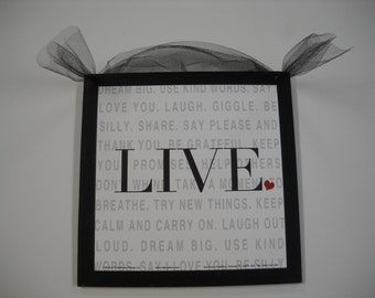 LIVE Dream Big use kind words say I love you wood Wooden Wall Art Sign Teen Girls Bedroom Decor