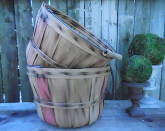Vintage Wooden  Woven Fruit Baskets with handles