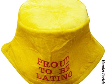 Yellow Crushed Velvet Bucket Hat | Proud To Be Latino Embroidered Hat | Crushed Velvet Hat | Yellow Hat | Sun Hat by Hamlet P. | HP31116a