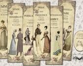 Six Jane Austen bookmarks digital collage sheet. DIGITAL DOWNLOAD