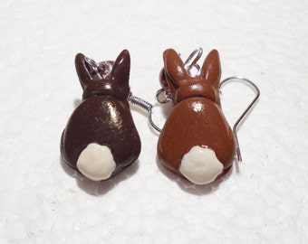 Chocolate Easter Bunny Earrings . Polymer clay.