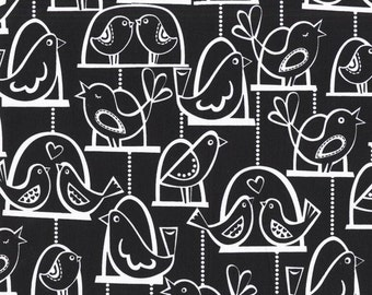 Michael Miller fabric by the yard Bird Swing in Black 1 Yard