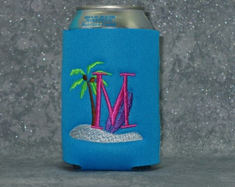 Can Cooler, Tropical, Surfboard, Monogram Cozy