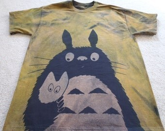 Close up of Totoro and his litte friend, man's XL t-shirt, discharged, and dyed, chartreuse and baby blue