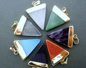 15% Valentines Day Gemstone Triangle Pendant-- 31mm x 26mm Amethyst Triangle Charm Pendant with Gold Electroplated Cap and Bail (S48B2-06)
