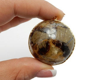 Large Round Septarian Pendant with 24k Gold Electroplated Edge (S40B19-28)