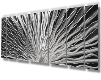 """Silver Wall Art Large Metal Wall Art Panels Sculpture Modern Abstract ArtWork """"Vibration"""" by Brian M Jones Painting Contemporary Home Decor"""