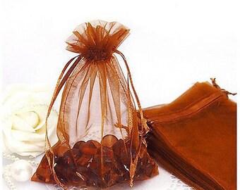 "25pcs Chocolate Brown Organza Gift bags 3""X4"""